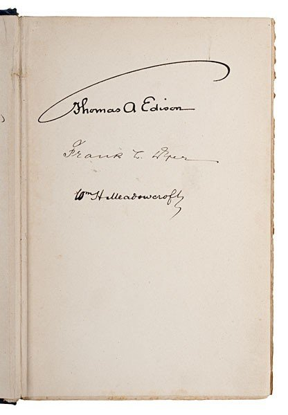 230: Thomas Edison & Assistant, Frank Dyer, Signed Book