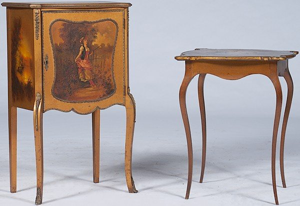 157: French Table and Side Cabinet