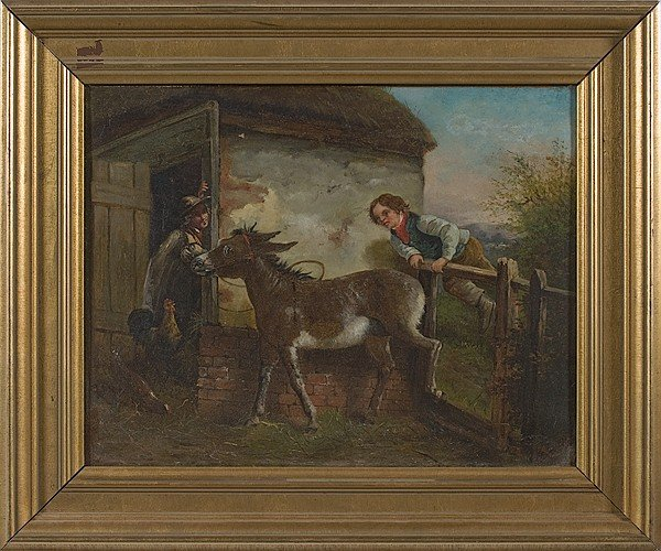 225: Continental Genre Scene with Donkey, Oil on Canvas