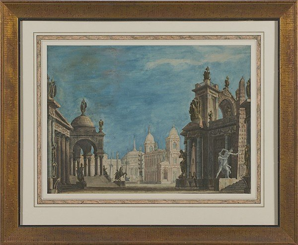 226: 18th Century Italian Architectural Watercolor on P