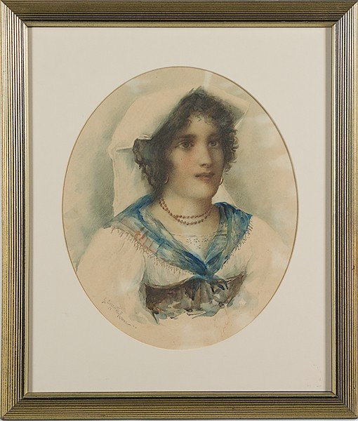 235: Italian Watercolor Portrait of a Lady