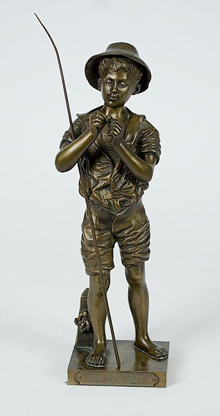 241: Bronze Fisher Boy by Adolphe Jean Lavergne