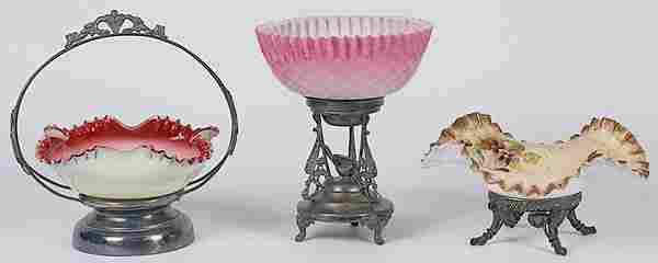 Victorian Glass Brides Baskets