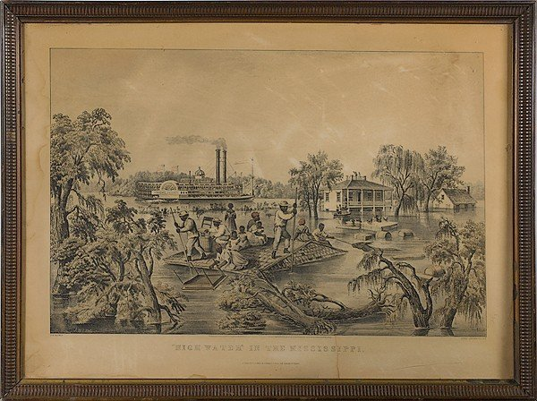 514: High Water in the Mississippi Currier & Ives Repro