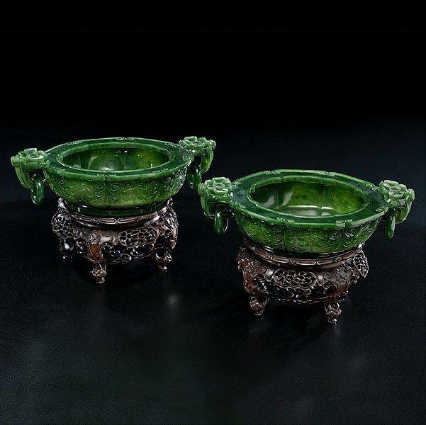 2: Spinach Jadeite Chinese Bowls