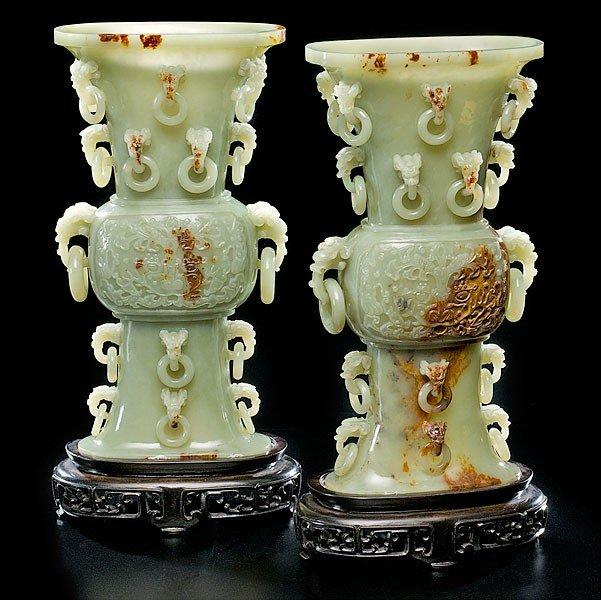 3: Yellow Jade Gu-Form Chinese Vases