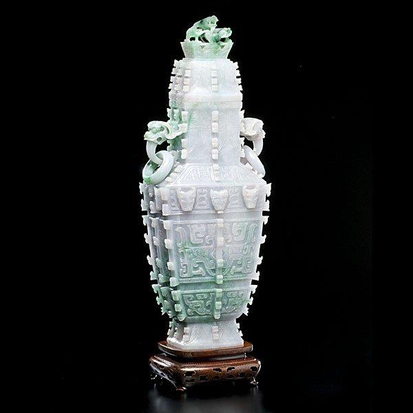 5: Archaistic Jadeite Lidded Wine Vessel
