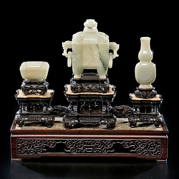 8: Finely Carved and Rare Pale Celadon Jade Altar Set