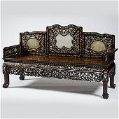 51: Chinese Export Mother-of-Pearl Inlaid Bench