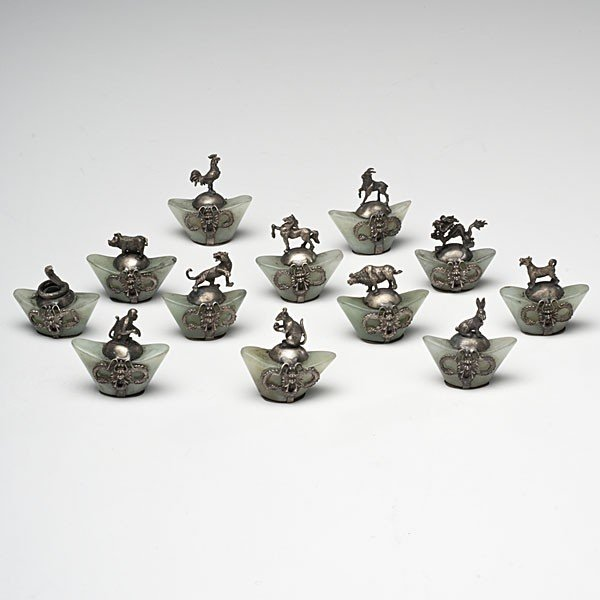 175: Chinese Soochow Jade and Silver Zodiac Pieces