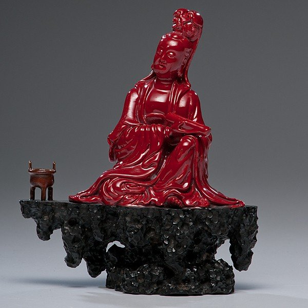 183: Rare Red Porcelain Guanyin