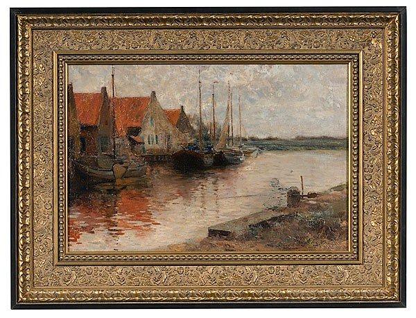 10: Hugo Konig (German, 1856-1899), Harbor Scene