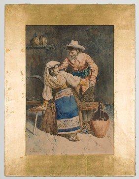 Eugenio Zampighi (Italian, 1859-1944) Italian Scene