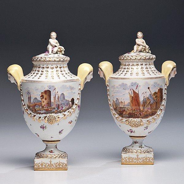 200: Dresden Porcelain Urns