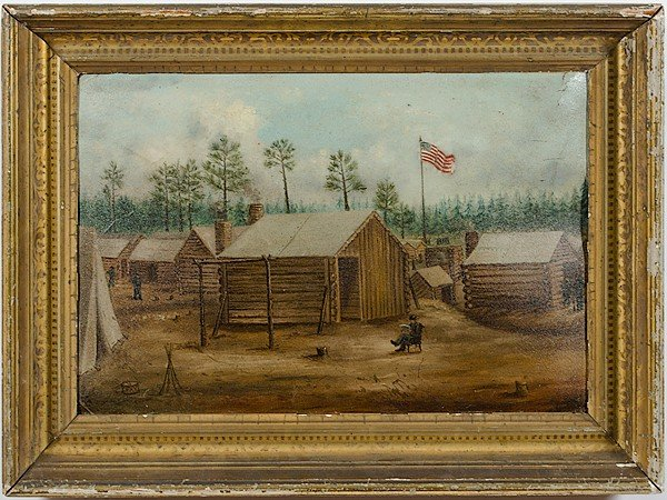 3: Civil War Camp Scene, Oil on Canvas