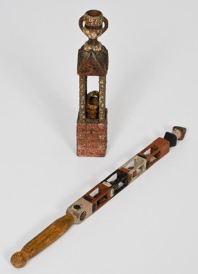 Folk Art Polychrome Carved Wood Whimsies�