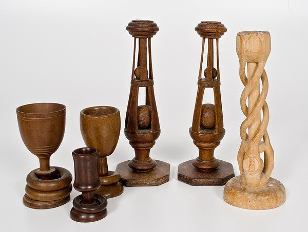 51: Group of Folk Art Carved Candle Sticks, Plus