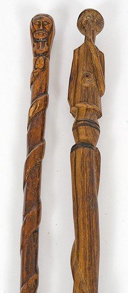 66: Folk Art Carved Figural Canes