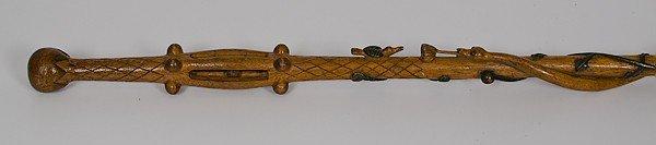 70: Irish Theme Polychrome Folk Art Carved Wood Cane