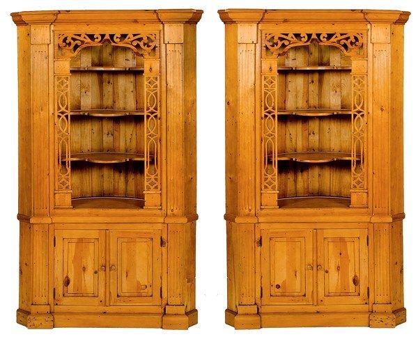 71: Pair of Pine Corner Cupboards
