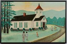 Mattie Lou O'Kelley Church Scene, Oil on Board