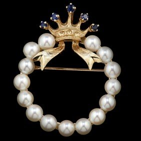 3: Sapphire Crown Brooch with a Wreath of Pearls