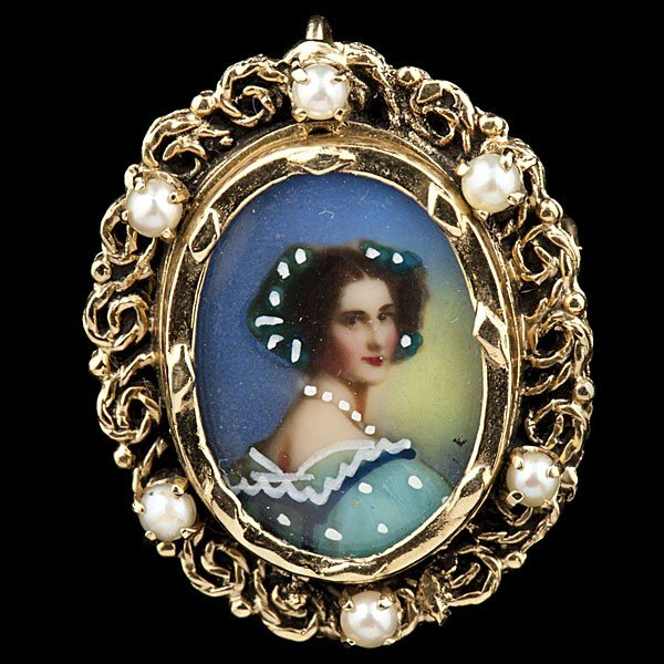 13: Painted Porcelain Brooch with Pearl Accents