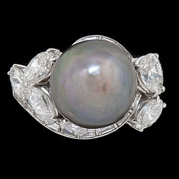 21: Tahitian Pearl & Diamond Ring