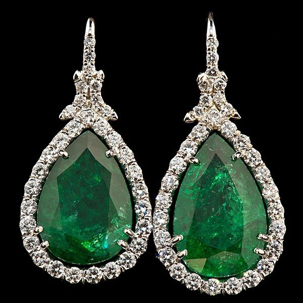 85: 18K White Gold Emerald Drop Earrings