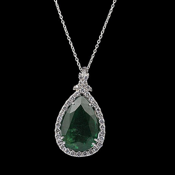 86: 18K White Gold Emerald & Diamond Pear-Shape Pendant