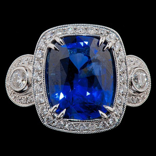 93: 18K White Gold Natural Cushion Cut Sapphire Ring