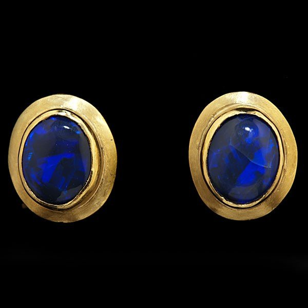 99: Pair of Custom Designed Black Opal Earrings