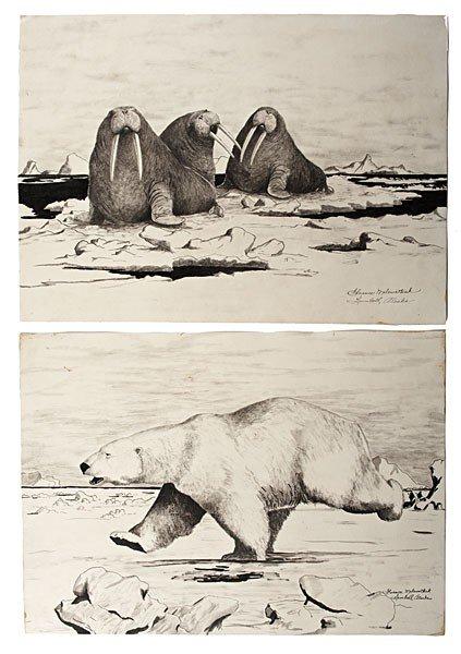 1: Florence Makewotkuk (1905-1971) Eskimo Pen and Ink D
