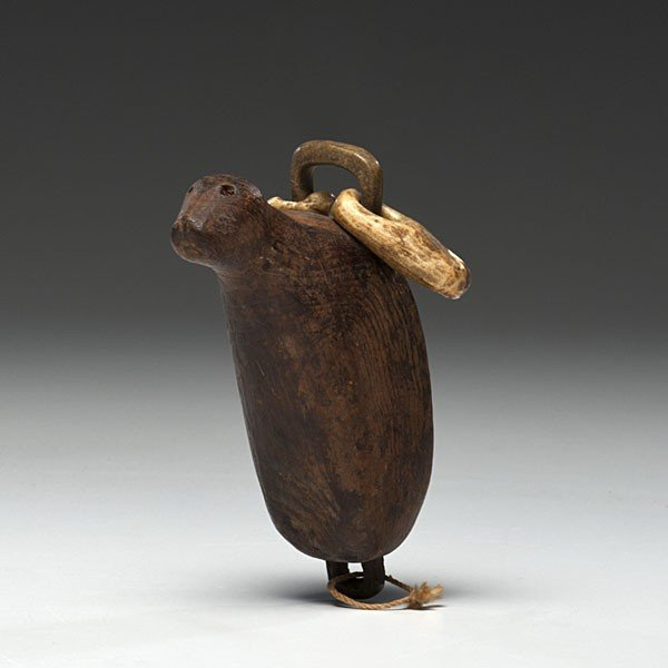 8: Eskimo Carved Wooden Seal Rattle Collected by Admira