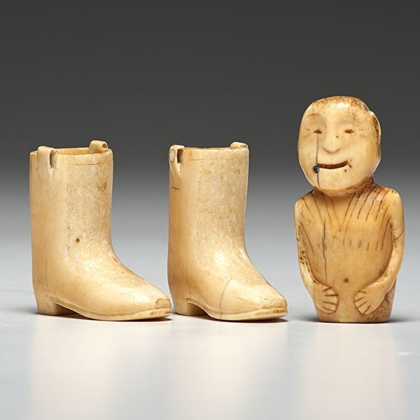 9: Eskimo Walrus Ivory Boots and Figure Collected by Ad