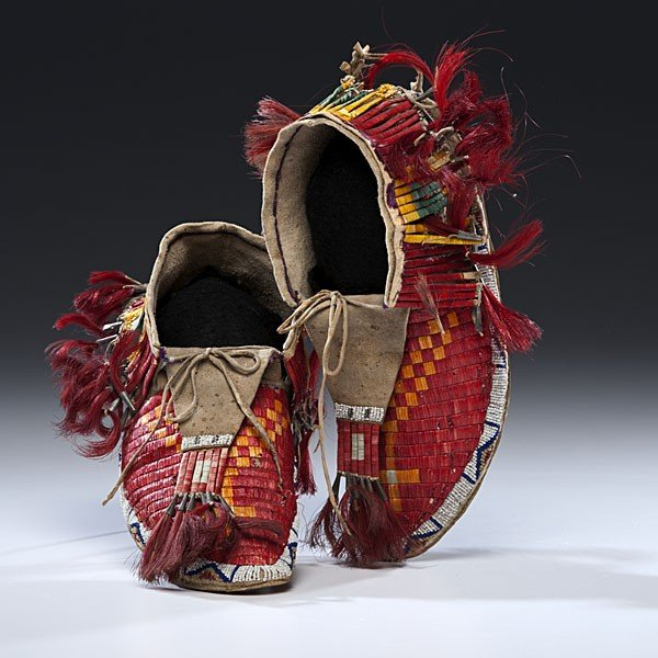 130: Sioux Quilled Hide Moccasins