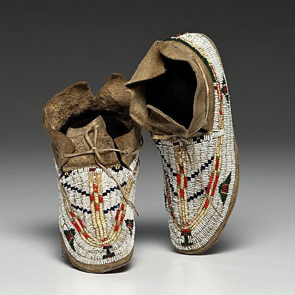 131: Cheyenne Beaded and Quilled Buffalo Hide Moccasins