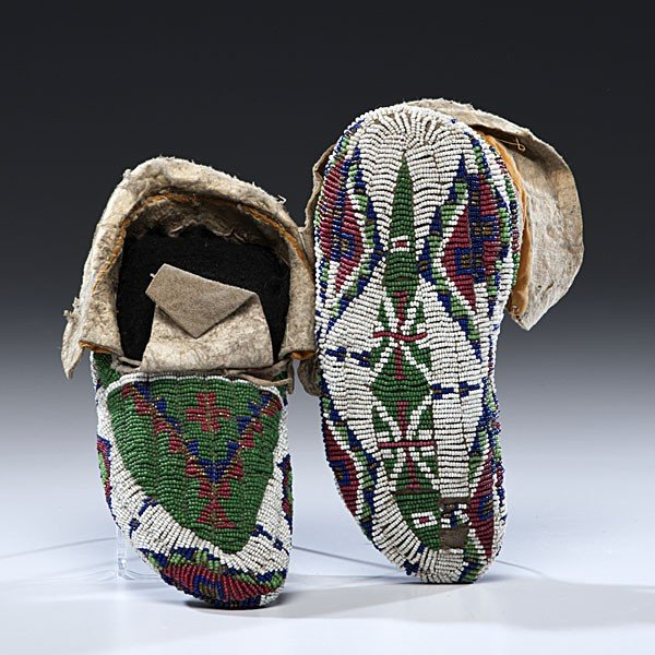 133: Sioux Child's Fully Beaded Hide Moccasins