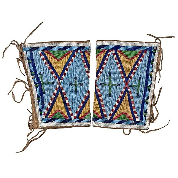 143: Northern Plains Beaded Hide Cuffs