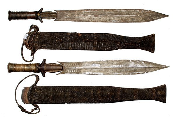 8: Pair of African Fang Knives Collected 1898