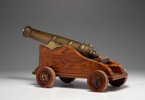 19: Brass Scottish Cannon with Wood Carriage