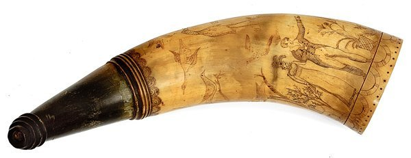 29: Powder Horn Engraved with Pigeons and Cranes