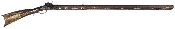 45: Silver Mounted Kentucky Flintlock Rifle by J. B. Ma