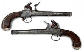 Pair Of Queen Anne Box Lock Flintlock Pistols�
