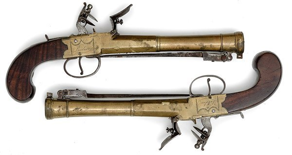 74: Pair of English BoxLock Flintlock Blunderbuss Pisto