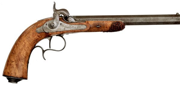 80: French Percussion Target Pistol by A. Bourdeaux