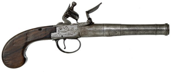 81: English Screw Barrel Box Flintlock Pistol by Pendri