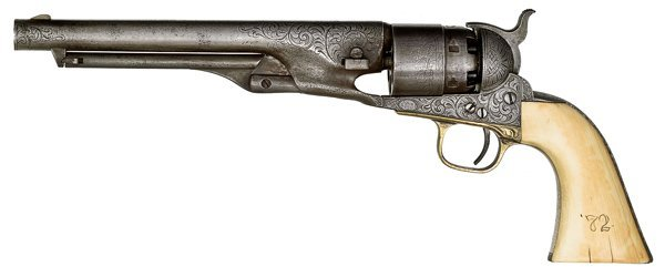 237: Engraved Model 1860 Colt Army Percussion Revolver - 2