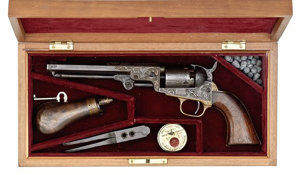 278: Engraved Cased Colt Model 1849 Pocket Percussion R
