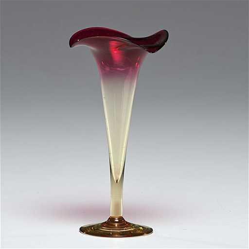358 Libbey Amberina Glass Trumpet Vase